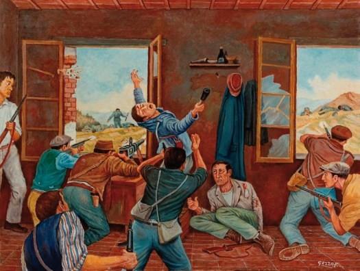 Quadro di Ferdinando Gazza che raffigura un momento della Battaglia di Purocielo. Sito museo ca' di Malanca.
