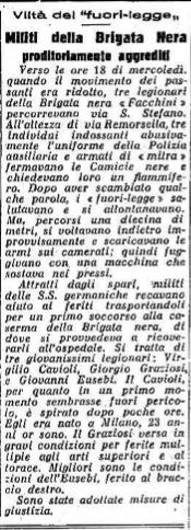 """L'articolo del """"Carlino"""" del 20-10-1944."""