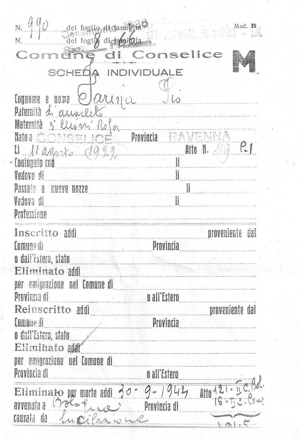 Certificati di morte di Pio Farina (sopra) e Cesare Gaiba (sotto).