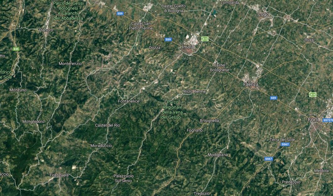 La mappa dei territori in cui operò la 36° Bianconcini Garibaldi.