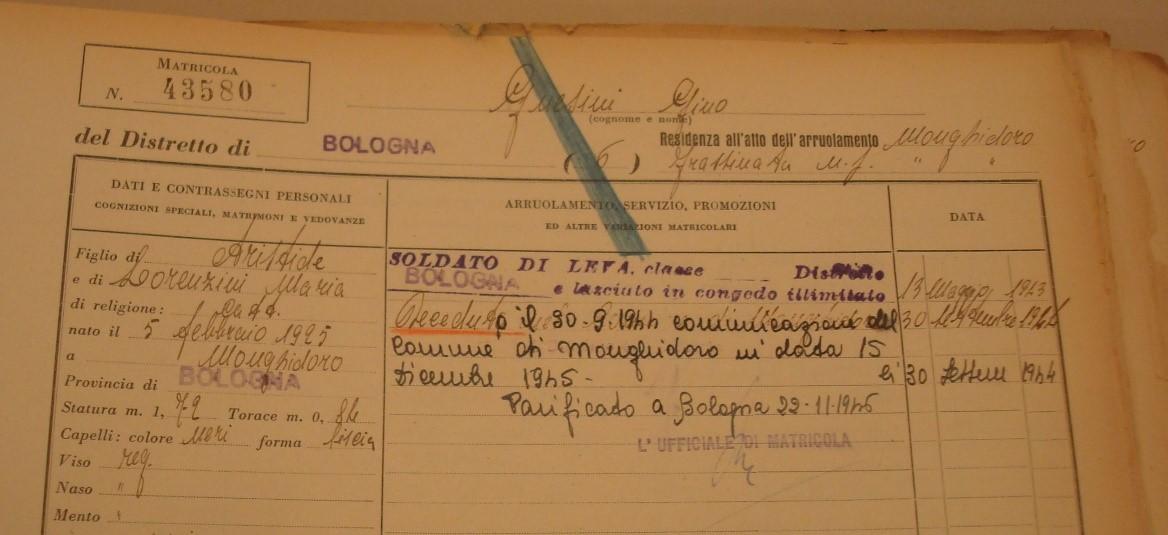 La matricola del Distretto Militare di Bologna di Gnesini Gino-Archivio di Stato di Bologna.