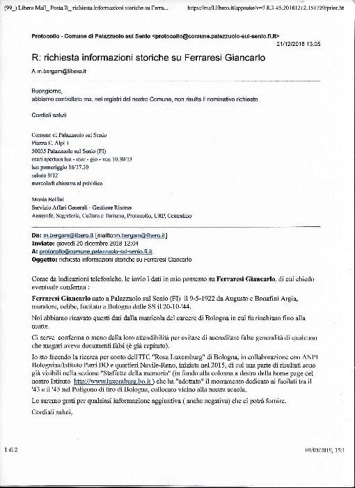 La risposta negativa dell'anagrafe di Palazzuolo sul Senio (FI).