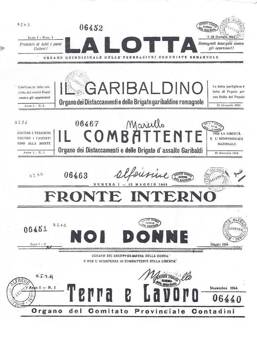 Alcune delle testate stampate nella tipografia n.1 di Conselice.