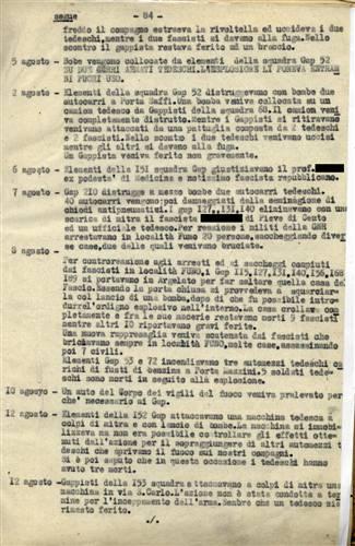 Il foglio completo del Bollettino inviato al Cumer dalla 7a Gap sulle azioni intraprese tra il 9 luglio ed il 26 agosto 1944. Istituto Parri, Bologna.