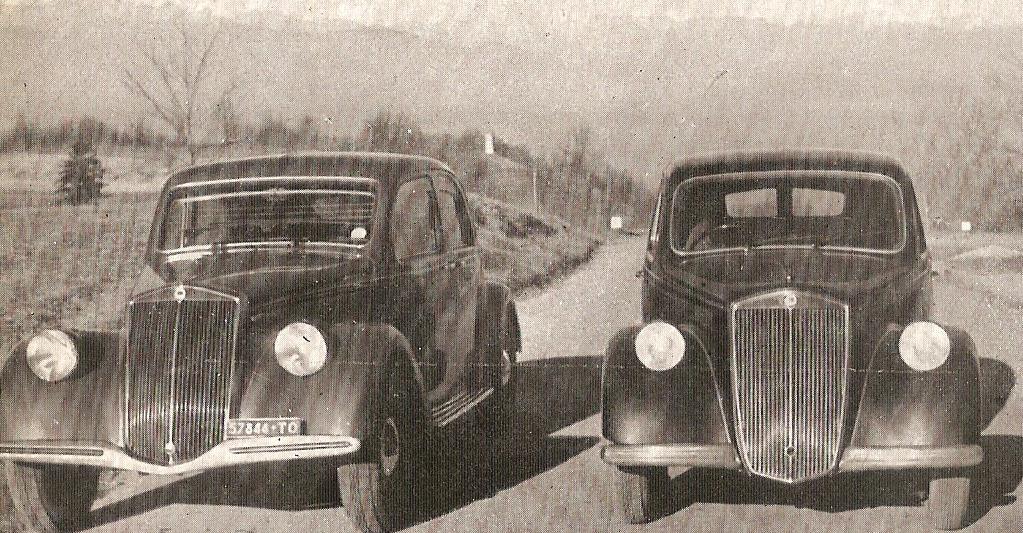 Nell'ordine, da sinistra a destra, i due modelli d'auto della Lancia, l' Aprilia e l' Ardea, citati nel testo. Inizio anni '40. Wikipedia.