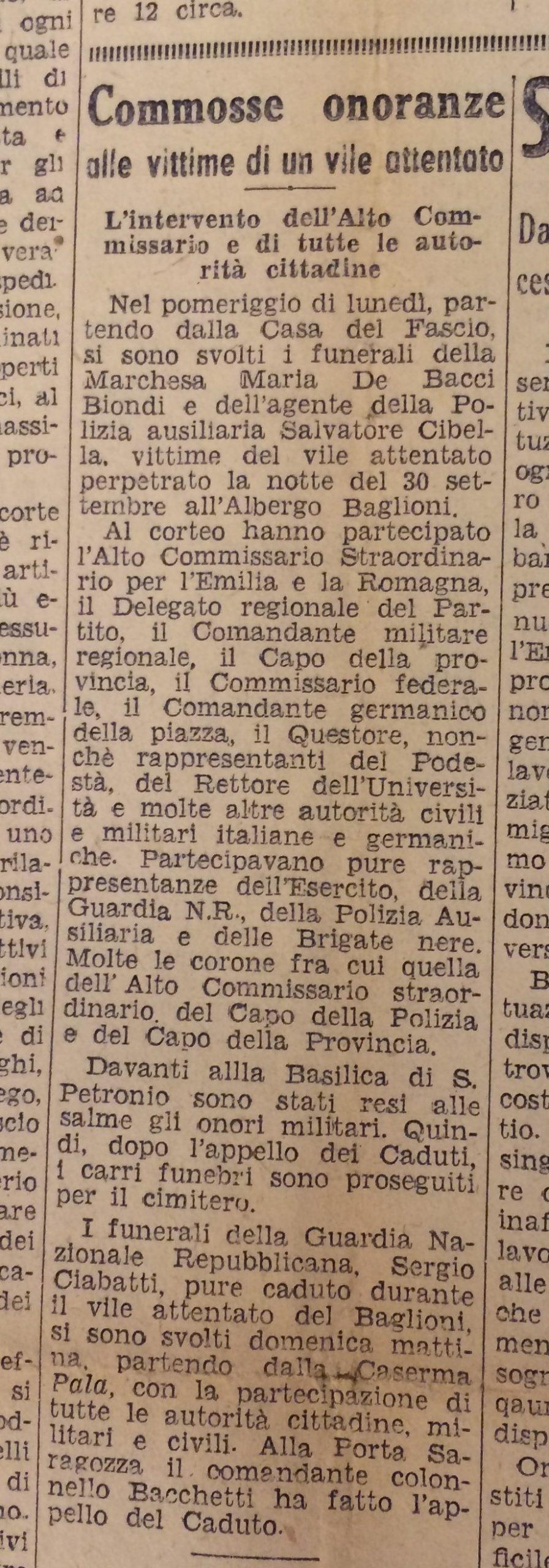"""La notizia relativa alle onoranze funebri riservate alle vittime dell'attentato, apparsa su """"Il Resto del Carlino"""" del 4-10-'44."""