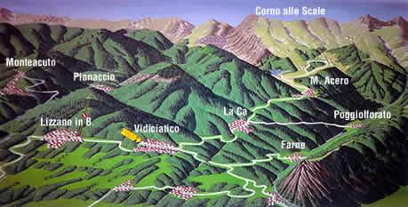 mappa con collocazione di La Ca', Poggiolforato, Vidiciatico e Lizzano in Belvedere.
