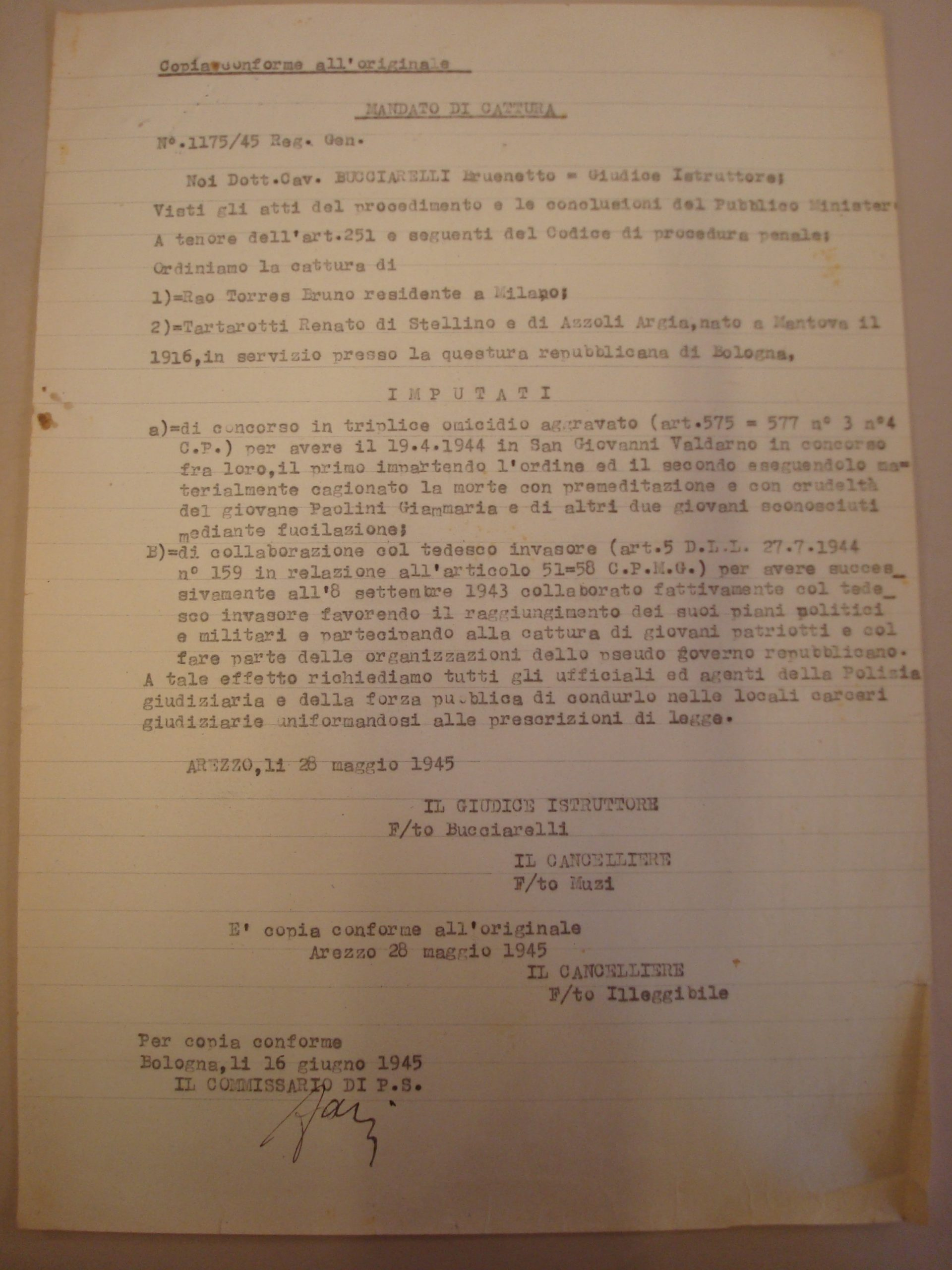 Il mandato di cattura per Renato Tartarotti – Archivio di stato, Fascicolo Tartarotti.