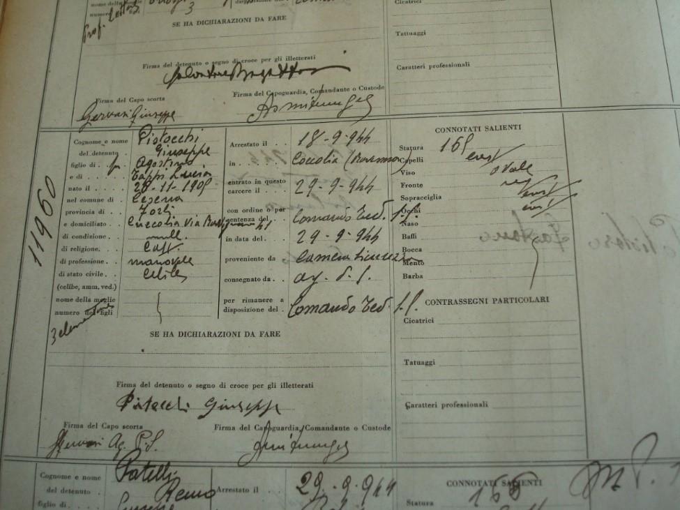 La matricola in entrata al carcere di San Giovanni in Monte di Giuseppe Pistocchi. Archivio Carcere della Dozza, Bologna.