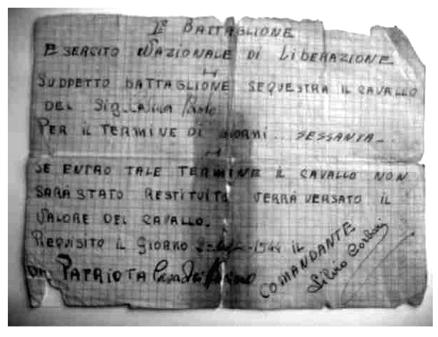 Uno dei fogli che garantiva il risarcimento per una requisizione di Corbari.http://www.id3king.it/