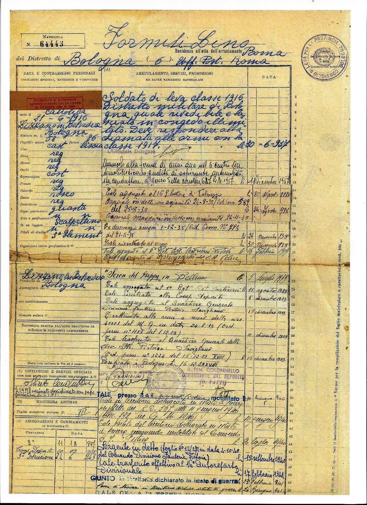 Parte della matricola militare n°. 64443 di Formili Lino.
