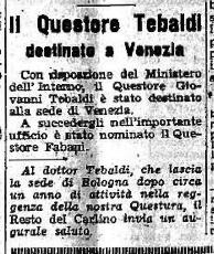 """La notizia sul """"Carlino"""" del trasferimento a Trieste del Questore Tebaldi."""