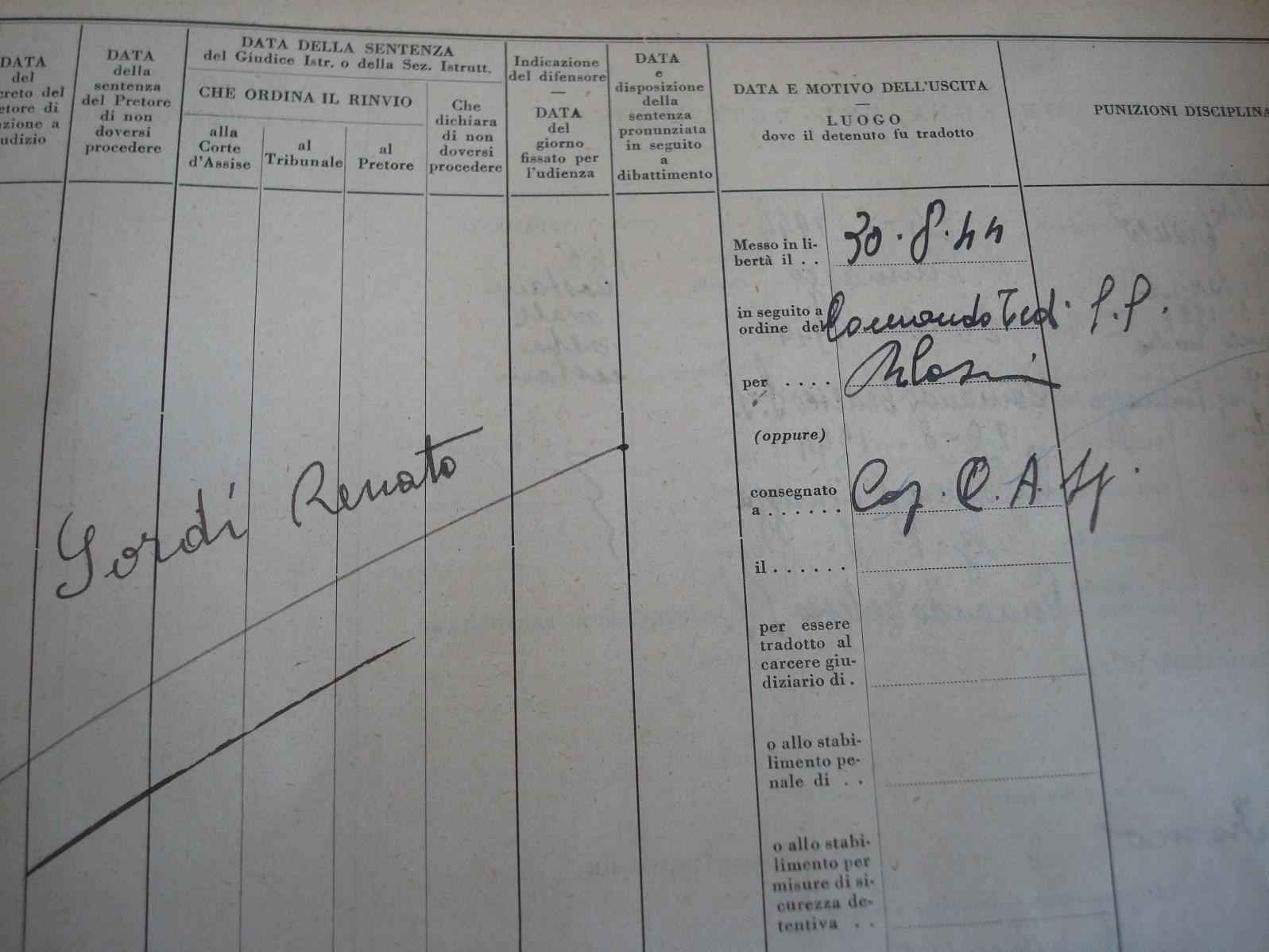 Uno dei fogli matricolari d'uscita da San Giovanni in Monte, con la consegna del detenuto, Sordi Renato, al cap. della C.A.S.