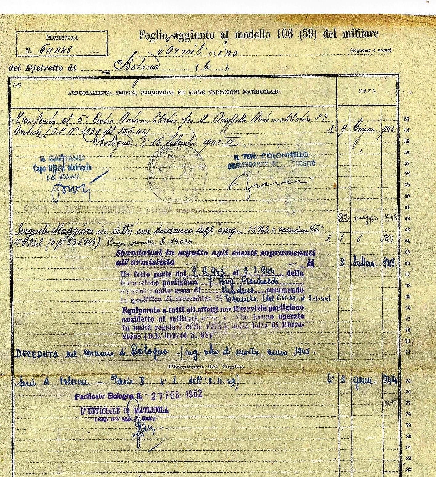 Particolare del foglio 3 della matricola militare di Lino Formili.