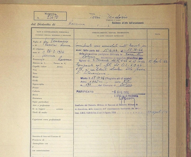 La matricola militare di Teodosio Toni. Archivio di Stato di Forlì-Cesena.