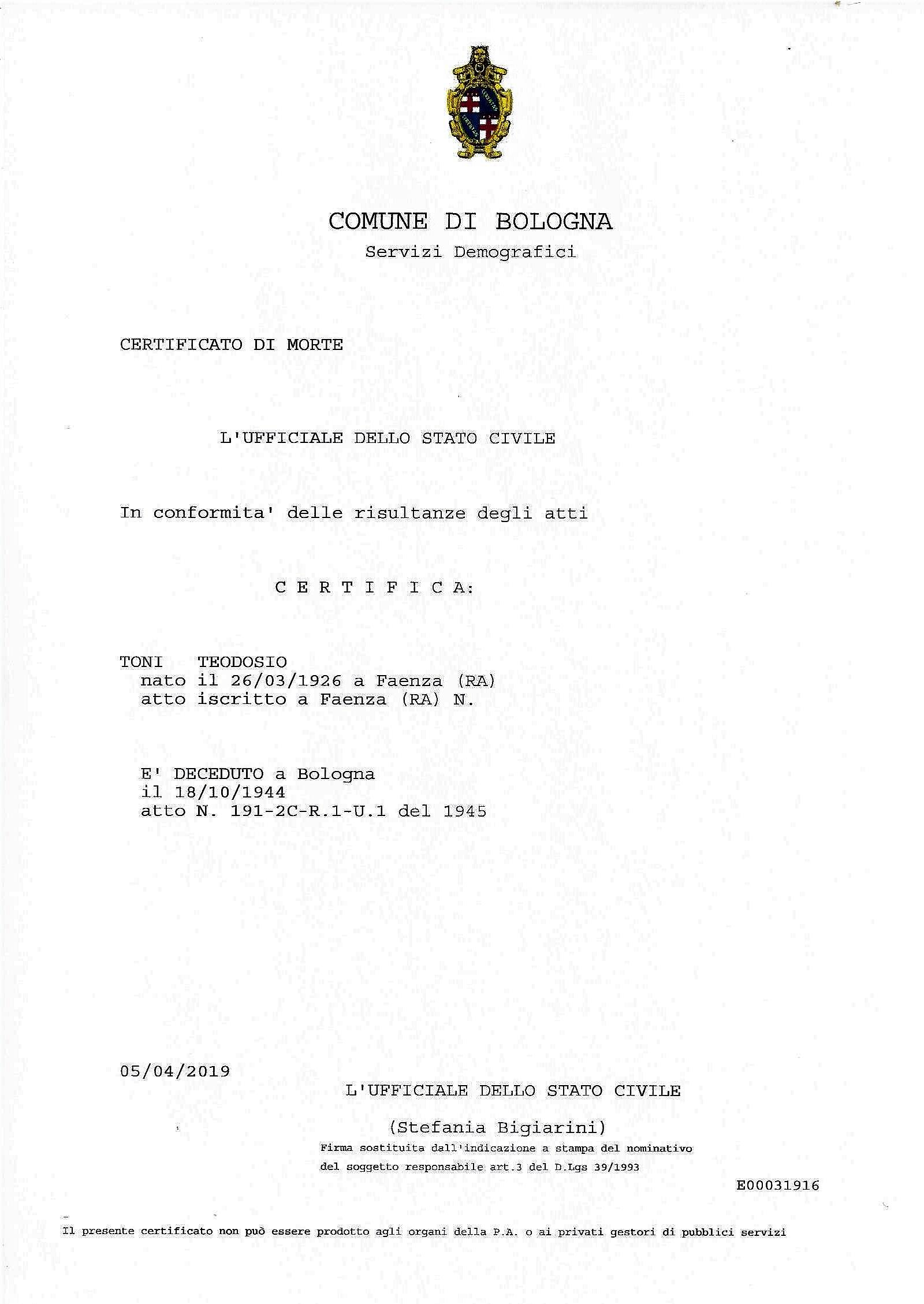 Anagrafe storica del Comune di Bologna -certificato di morte di Teodosio Toni.