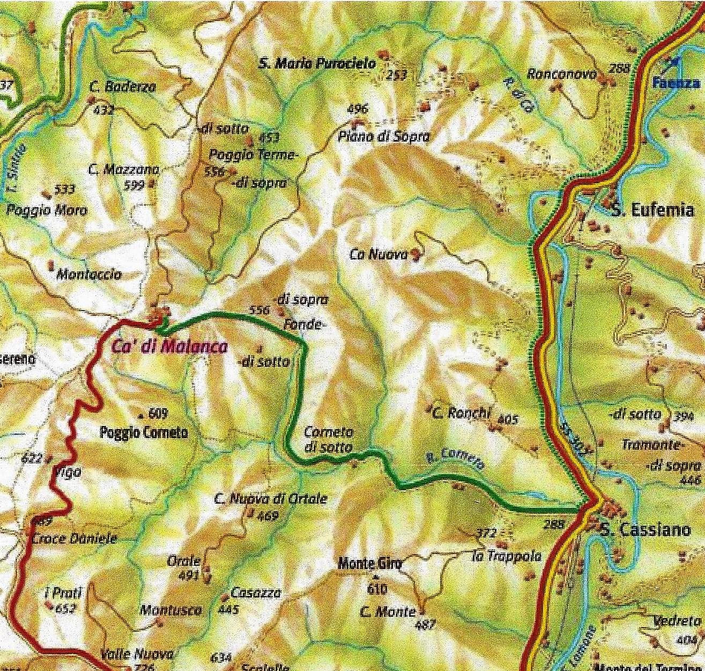 Mappa del territorio della valle del Rio di Cò, con S.Maria Purocielo e S. Eufemia.