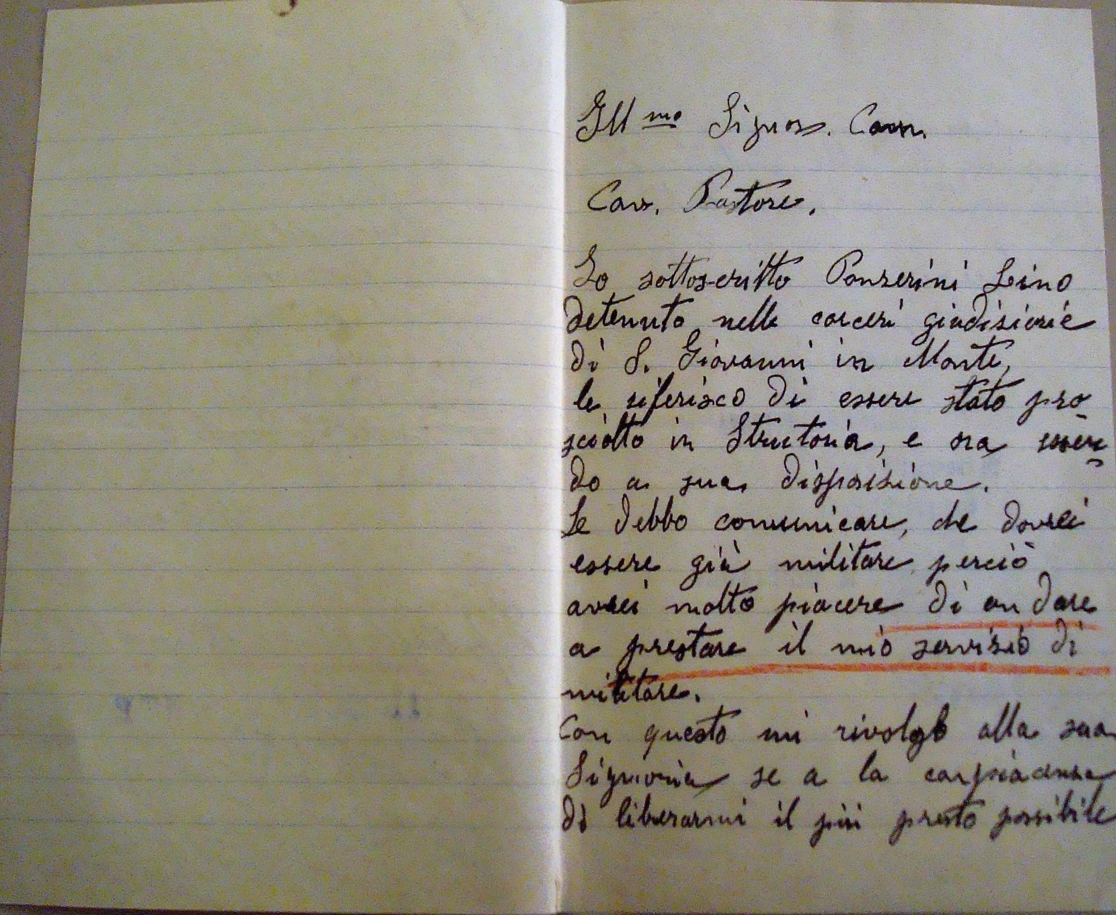 Istanza presentata da Lino Panzarini il 21-7-'31.Archivio di Stato BO.