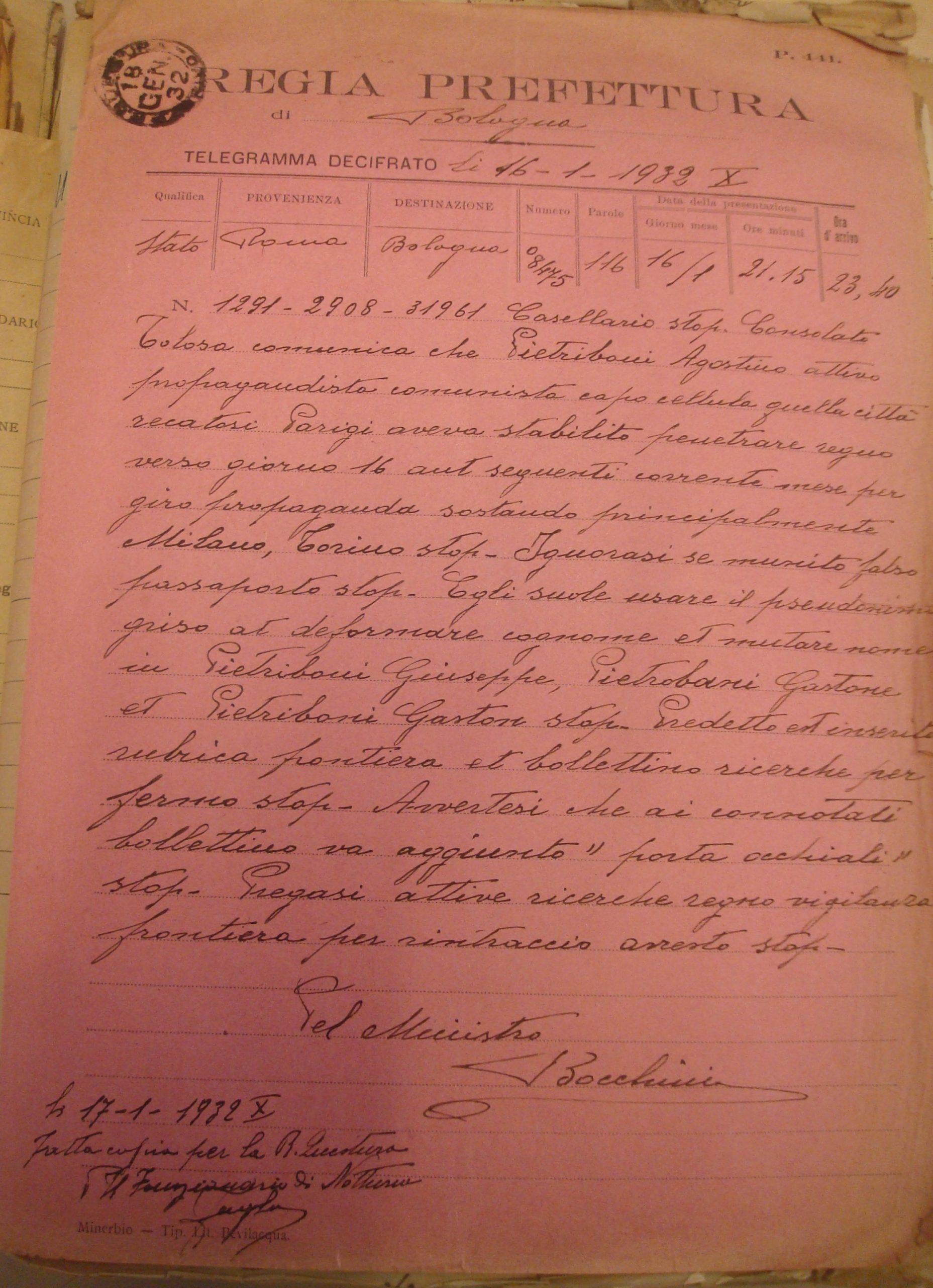 Il rapporto del 18 gennaio 1932 della Regia Prefettura di Bologna, che riporta il telegramma, inviato il 16 gennaio da Roma firmato dal capo della polizia Bocchini. Archivio di Stato di Bologna.