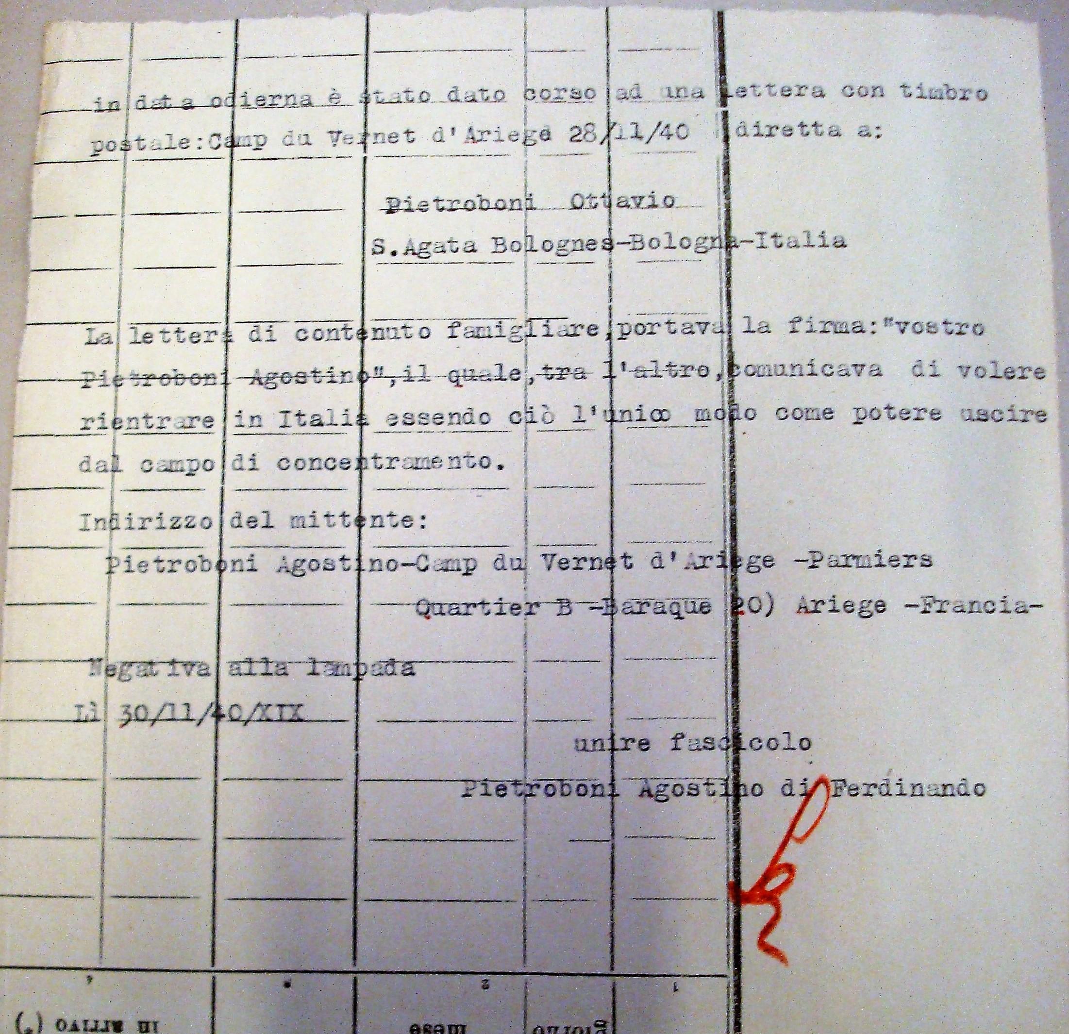 La segnalazione nel fascicolo personale di Pietrobuoni della sua lettera pervenuta al fratello Ottavio dal campo di internamento di Vernet d'Ariege.Archivio di Stato di Bologna.