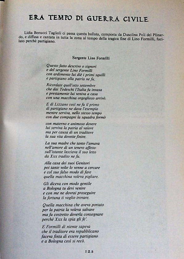 Le prime otto strofe della ballata dedicata a Lino Formili da Dusolina Poli del Plinardo.