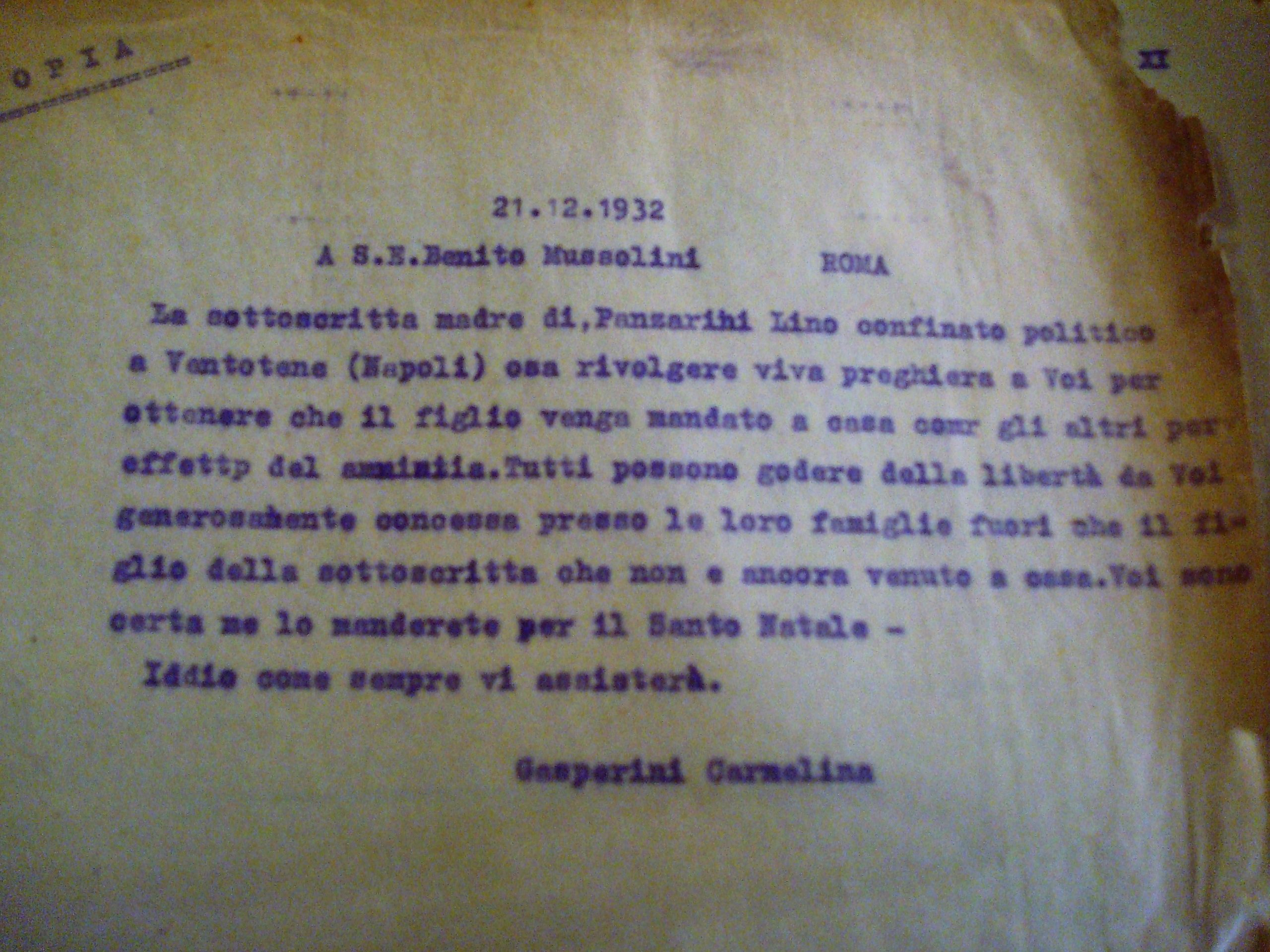La lettera inviata dalla madre di Lino Panzarini al Duce nel dicembre 1932. Archivio di Stato di Bologna.