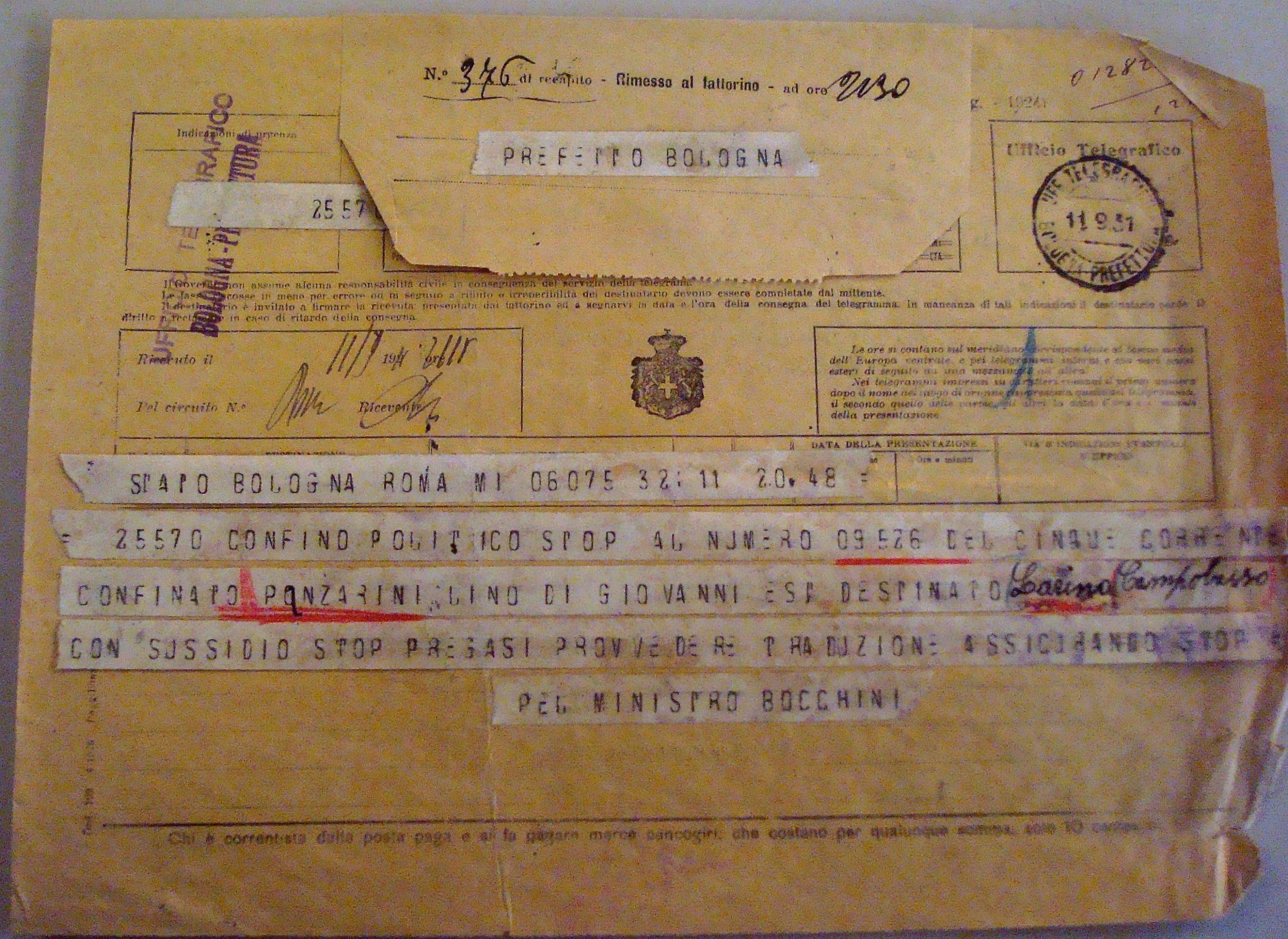 Il telegramma con cui il Ministero degli Interni dispose il confino a Larino per Lino Panzarini. Archivio di Stato di Bologna.