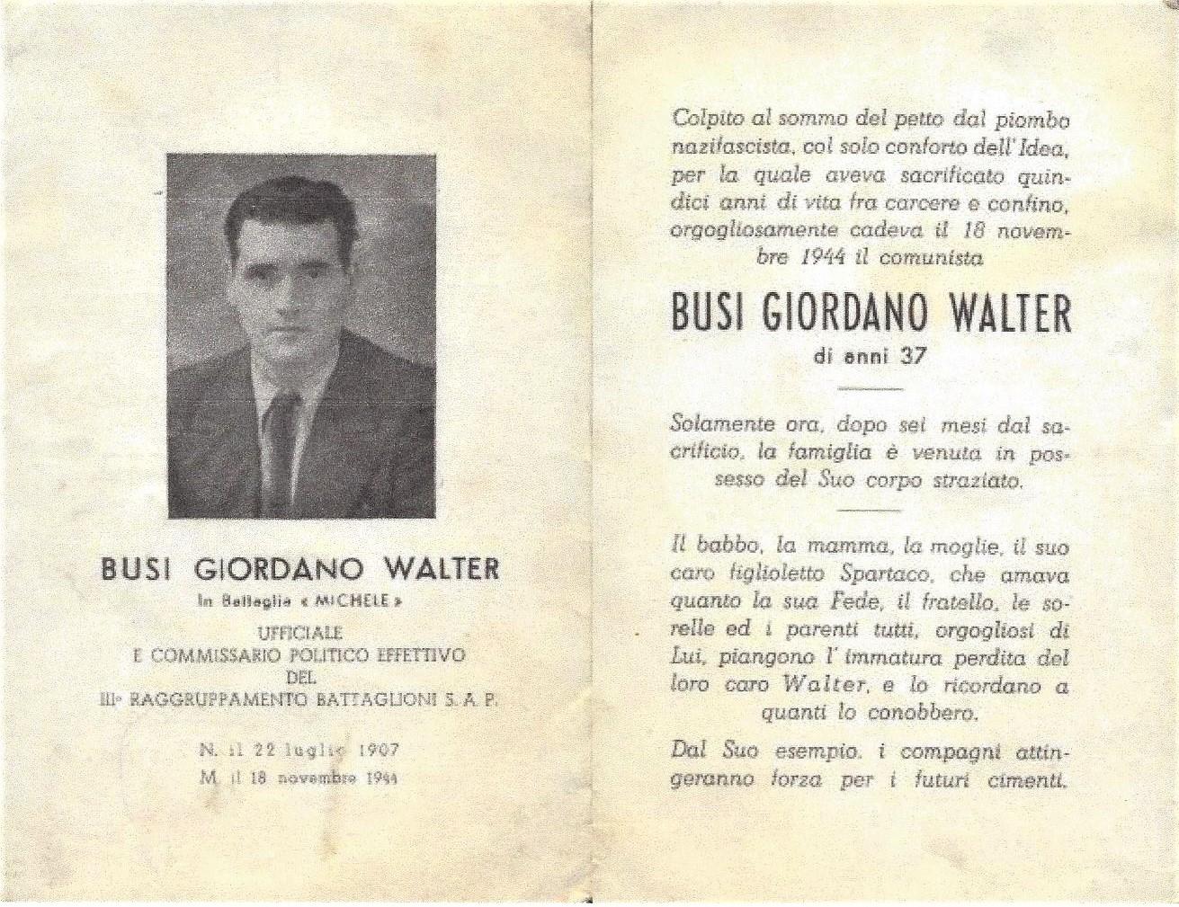 Il santino del funerale di Giordano Walter Busi, in originale un fronte retro, squadernato. Fondo Fotografico ANPI, Istituto Parri, Bologna.